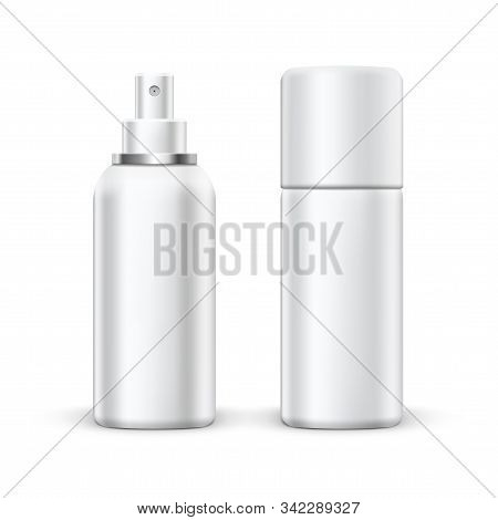 3D Blank Metal Spray Deodorant Bottle With Cap stock photo