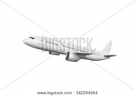 3D White Abstract Airliner Take Off On White stock photo