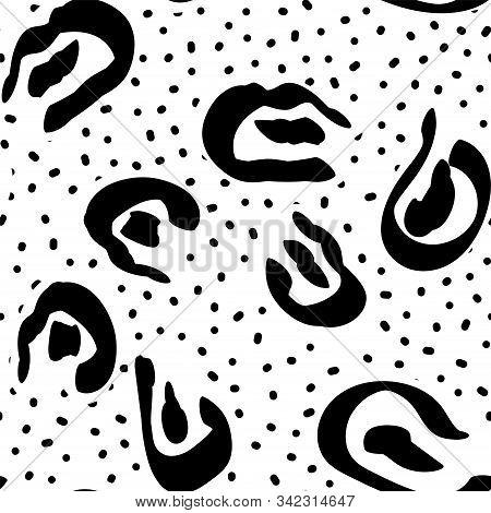 Dark Imitation Cheetah Wool Vector Seamless Pattern. Black Hair Wild Leo Print. Aquarelle Savannah Design. Art Pencil Imitation Batik Background. stock photo