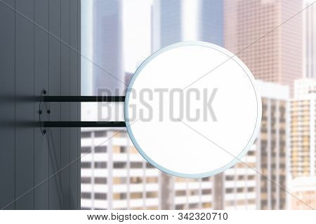 Empty round banner on wall. Commercial and ad concept. Mock up, 3D Rendering stock photo