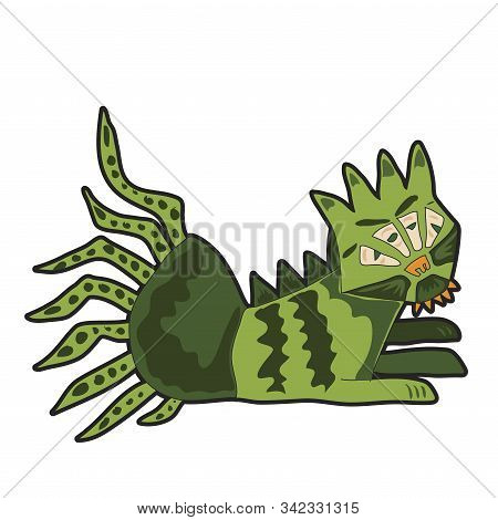 Angry cartoon green monster. Cute illustration for prints on baby clothes. stock photo