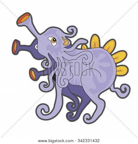 Cute cartoon lavender monster. Vector illustration with simple gradients. Character and shadow on separate layers. stock photo