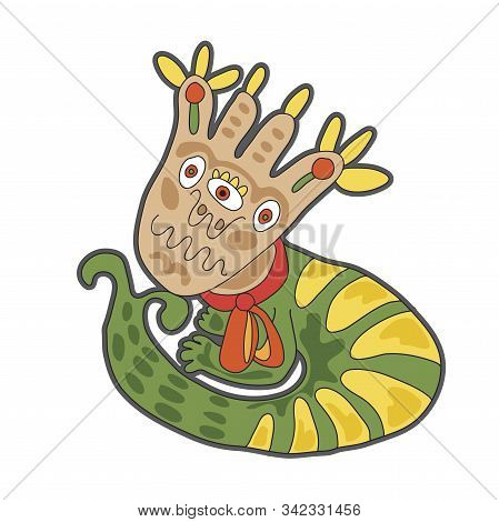 Cute cartoon striped monster. illustration for prints on baby clothes. stock photo