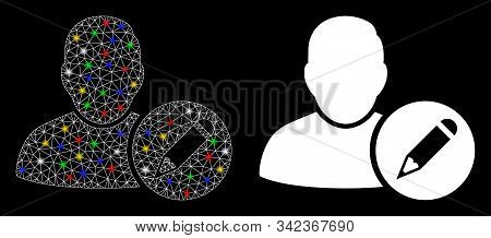 Glowing mesh edit user icon with glare effect. Abstract illuminated model of edit user. Shiny wire carcass triangular network edit user icon. Vector abstraction on a black background. stock photo