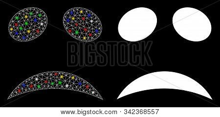 Glossy mesh sad emote smiley icon with glow effect. Abstract illuminated model of sad emote smiley. Shiny wire frame polygonal mesh sad emote smiley icon. Vector abstraction on a black background. stock photo