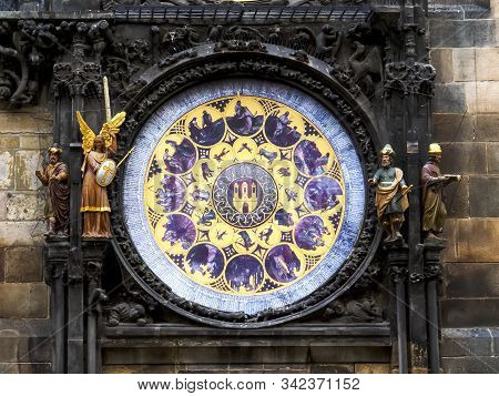 shot of part of the historic astronomical clock in prague stock photo