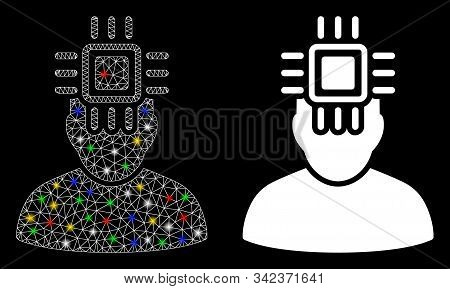 Flare mesh neuro interface icon with glare effect. Abstract illuminated model of neuro interface. Shiny wire frame polygonal mesh neuro interface icon. Vector abstraction on a black background. stock photo