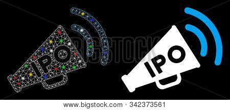 Glossy mesh IPO news megaphone icon with lightspot effect. Abstract illuminated model of IPO news megaphone. Shiny wire frame polygonal mesh IPO news megaphone icon. stock photo