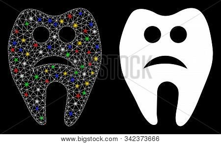 Glossy mesh sad tooth icon with sparkle effect. Abstract illuminated model of sad tooth. Shiny wire carcass polygonal mesh sad tooth icon. Vector abstraction on a black background. stock photo