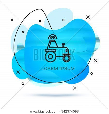 Line Self driving wireless tractor on a smart farm icon isolated on white background. Smart agriculture implement element. Abstract banner with liquid shapes. Vector Illustration stock photo