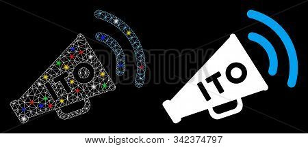 Bright mesh ITO alert megaphone icon with lightspot effect. Abstract illuminated model of ITO alert megaphone. Shiny wire carcass polygonal mesh ITO alert megaphone icon. stock photo