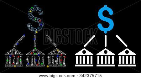 Glossy mesh bank expenses icon with glare effect. Abstract illuminated model of bank expenses. Shiny wire frame polygonal mesh bank expenses icon. Vector abstraction on a black background. stock photo