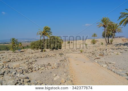 Archaeological remains in Tel Megiddo National Park, World Heritage Site. At Jezebel Valley, Northern Israel stock photo