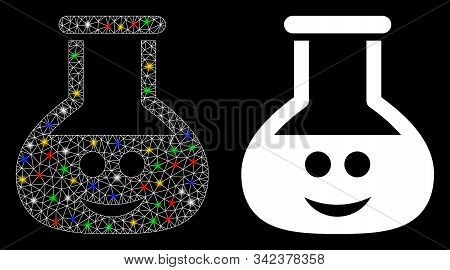 Glowing mesh happy chemistry glass icon with glare effect. Abstract illuminated model of happy chemistry glass. Shiny wire frame polygonal mesh happy chemistry glass icon. stock photo