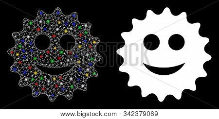 Glowing mesh glad sticker icon with glare effect. Abstract illuminated model of glad sticker. Shiny wire carcass triangular network glad sticker icon. Vector abstraction on a black background. stock photo