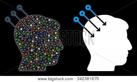 Glowing mesh neural interface connectors icon with glow effect. Abstract illuminated model of neural interface connectors. Shiny wire carcass polygonal network neural interface connectors icon. stock photo