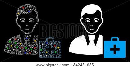 Glossy mesh first-aid manager icon with glare effect. Abstract illuminated model of first-aid manager. Shiny wire frame triangular mesh first-aid manager icon. stock photo