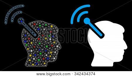 Flare mesh radio neural interface icon with sparkle effect. Abstract illuminated model of radio neural interface. Shiny wire carcass triangular mesh radio neural interface icon. stock photo