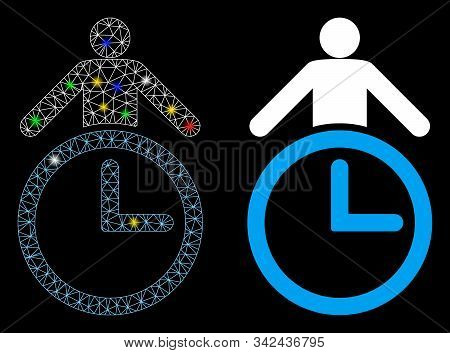 Bright mesh time manager icon with sparkle effect. Abstract illuminated model of time manager. Shiny wire frame triangular mesh time manager icon. Vector abstraction on a black background. stock photo
