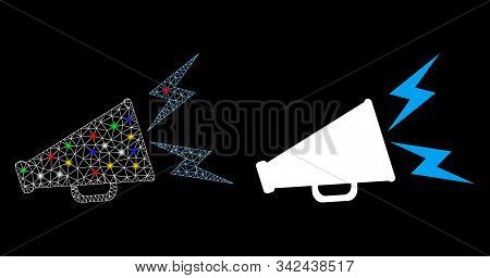 Glossy mesh alert megaphone icon with glow effect. Abstract illuminated model of alert megaphone. Shiny wire carcass triangular mesh alert megaphone icon. Vector abstraction on a black background. stock photo