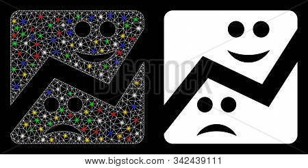 Flare mesh emotion chart icon with glitter effect. Abstract illuminated model of emotion chart. Shiny wire frame triangular mesh emotion chart icon. Vector abstraction on a black background. stock photo