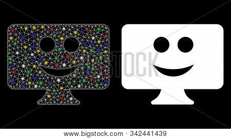 Glossy mesh display smile icon with lightspot effect. Abstract illuminated model of display smile. Shiny wire carcass polygonal mesh display smile icon. Vector abstraction on a black background. stock photo
