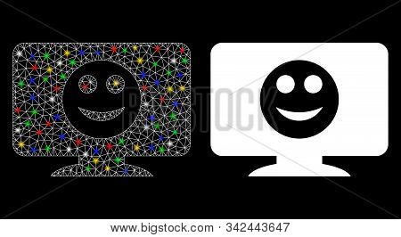 Glossy mesh display smile icon with glitter effect. Abstract illuminated model of display smile. Shiny wire frame polygonal mesh display smile icon. Vector abstraction on a black background. stock photo
