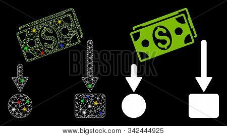 Glossy mesh cash flow icon with glare effect. Abstract illuminated model of cash flow. Shiny wire carcass polygonal mesh cash flow icon. Vector abstraction on a black background. stock photo