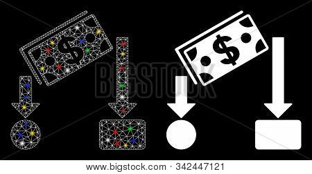 Glossy mesh cash flow icon with glitter effect. Abstract illuminated model of cash flow. Shiny wire frame polygonal mesh cash flow icon. Vector abstraction on a black background. stock photo