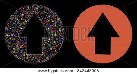 Flare mesh up direction icon with glow effect. Abstract illuminated model of up direction. Shiny wire carcass triangular mesh up direction icon. Vector abstraction on a black background. stock photo