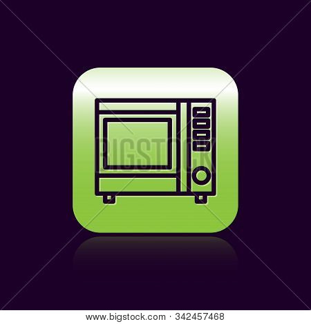 Black line Microwave oven icon isolated on black background. Home appliances icon. Green square button. Vector Illustration stock photo