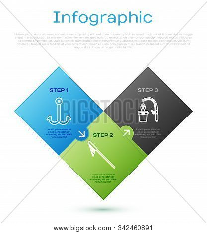 Set line Fishing hook, Fishing rod and fish, Fishing net and Fishing net in water. Business infographic template. Vector stock photo