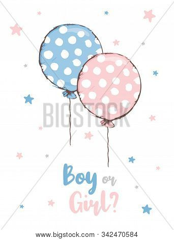 Cute Baby Shower Vector Illustration. Round Shape Pink and Blue Dotted Balloon. Flying Pink and Blue Balloon Isolated on a White Background. Boy or Girl. Lovely Nursery Art for Baby Shower Party. stock photo