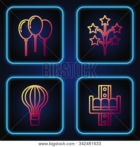 Set line Attraction carousel, Hot air balloon, Balloons with ribbon and Fireworks. Gradient color icons. Vector stock photo