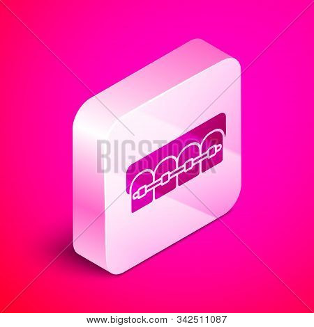 Isometric Teeth with braces icon isolated on pink background. Alignment of bite of teeth, dental row with with braces. Dental concept. Silver square button. Vector Illustration stock photo