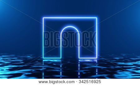 Abstract podium, winner's pedestal cup on a column. Concept interior arch minimal background. Stylish minimal abstract horizontal scene, place for text. Trendy classic blue color. 3D rendering stock photo