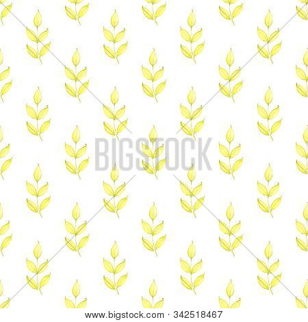 Watercolor floral pattern. Spring leaves, twigs. Background with tender leaves. Green spring backdrop. For wedding invitations, postcards, vintage background, paper texture and fabric. stock photo