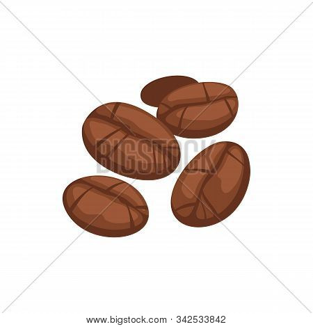 Roasted coffee seeds isolated aromatic brown beans. Vector aromatic grains, espresso ingredients stock photo