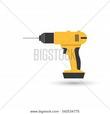 Drill Tools icon isolated on white background.Drill Tools vector simple sign.drill Tools trendy and modern symbol for graphic and web design.drill Tools icon flat vector illustration for logo, web, app,UI. stock photo