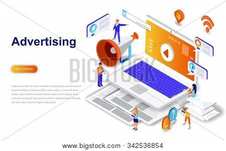 Advertising and promo modern flat design isometric concept. stock photo
