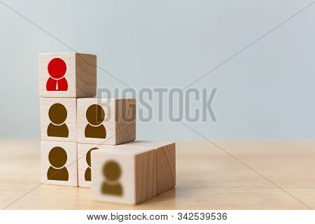 Human resource and talent management and recruitment business concept, Wooden cube block on top staircase stock photo