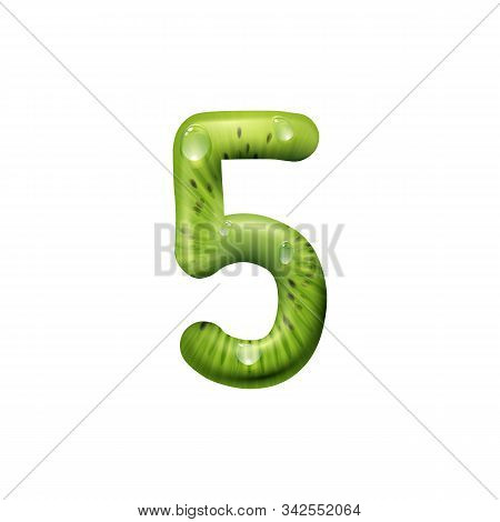 Five number of kiwi fruit isolated summertime numeric symbol. Vector 5 numeral of exotic food stock photo