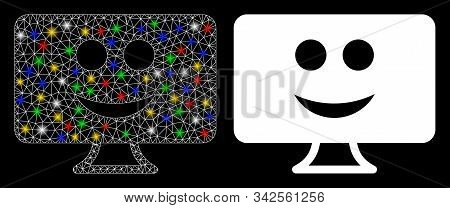 Bright mesh display smile icon with lightspot effect. Abstract illuminated model of display smile. Shiny wire carcass triangular mesh display smile icon. Vector abstraction on a black background. stock photo