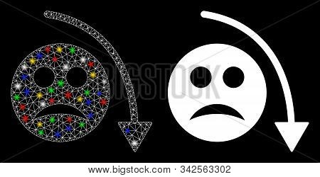 Flare mesh negative smiley trend icon with glare effect. Abstract illuminated model of negative smiley trend. Shiny wire frame triangular mesh negative smiley trend icon. stock photo