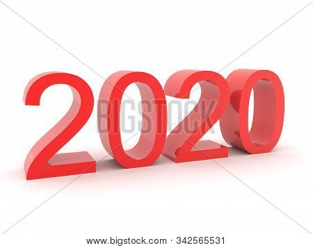3D Rendering of 2020 red text. 3D Rendering isolated on white. stock photo