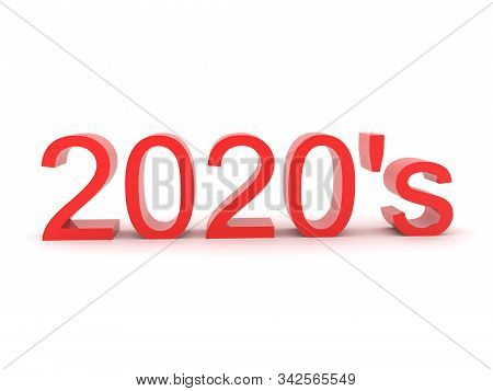 3D Red text saying the 2020's. 3D Rendering isolated on white. stock photo