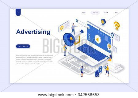 Advertising and promo modern flat design isometric concept. Advertisement and people concept. Landing page template. stock photo