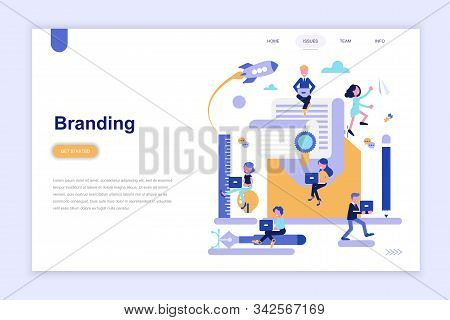 Landing page template of branding and advertising modern flat design concept. Learning and people concept. stock photo