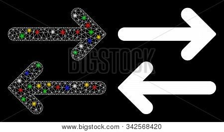 Bright mesh flip horizontal icon with glare effect. Abstract illuminated model of flip horizontal. Shiny wire frame polygonal mesh flip horizontal icon. Vector abstraction on a black background. stock photo