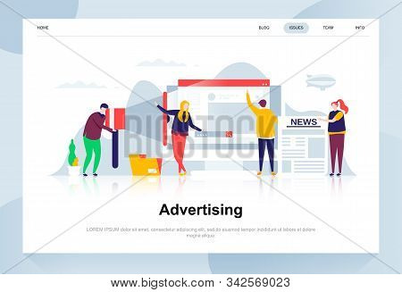 Advertising and promo modern flat design concept. Advertisement and people concept. Landing page template. stock photo